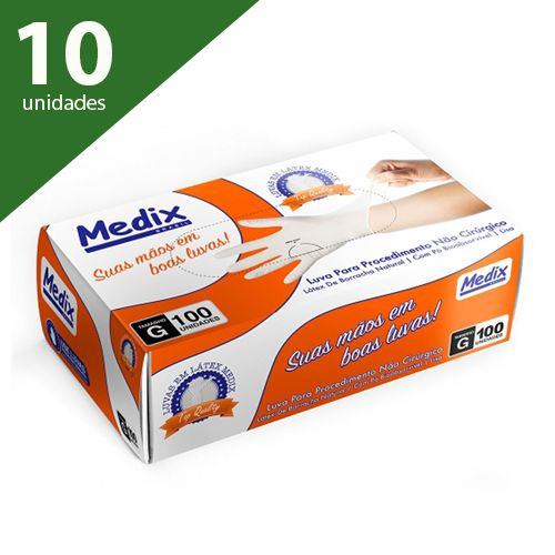 Luva de Procedimento Látex G 100 Unds - Medix
