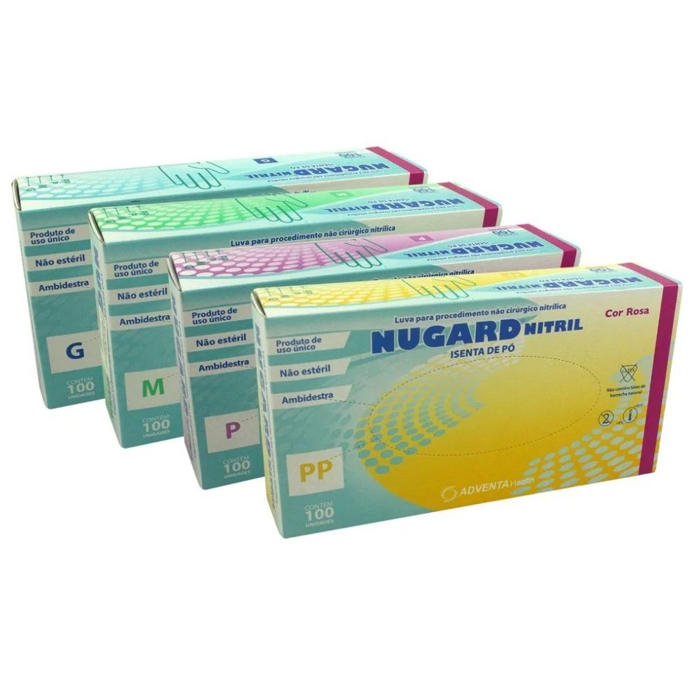 LUVA NITRÍLICA SEM PÓ ROSA TAMANHO P (CX C/100 UN) - NUGARD