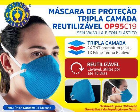 MÁSCARA DE PROTEÇÃO TRIPLA CAMADA REUTILIZÁVEL OP95 - ORTHOPAUHER