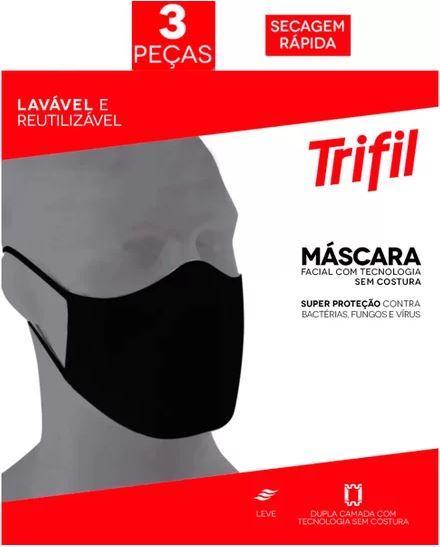 MÁSCARA TECIDO LAVÁVEL DUPLA PRETA (C/03 UNDS) TRIFIL
