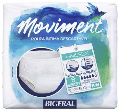 ROUPA ÍNTIMA DESCARTÁVEL BIGFRAL MOVIMENT TAMANHO P/M - (C/8) UNISSEX - BIGFRAL