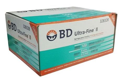 SERINGA DESCARTÁVEL P/DIABETICOS 13X0,38 CX C/100-BD