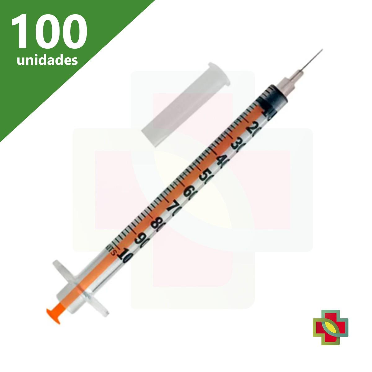 SERINGA INSULINA 100-U 01 ML COM AGULHA 13 X 4,5 (C/100) SR