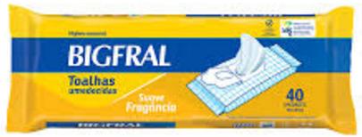 TOALHAS UMEDECIDAS BIGFRAL ADULTO (PCT C/ 40 UNDS.) - BIGFRAL