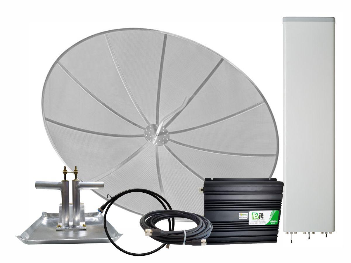 KIT Repetidor Celular 700 MHZ 1W Antenas 26 dBi e 15/17 dBi