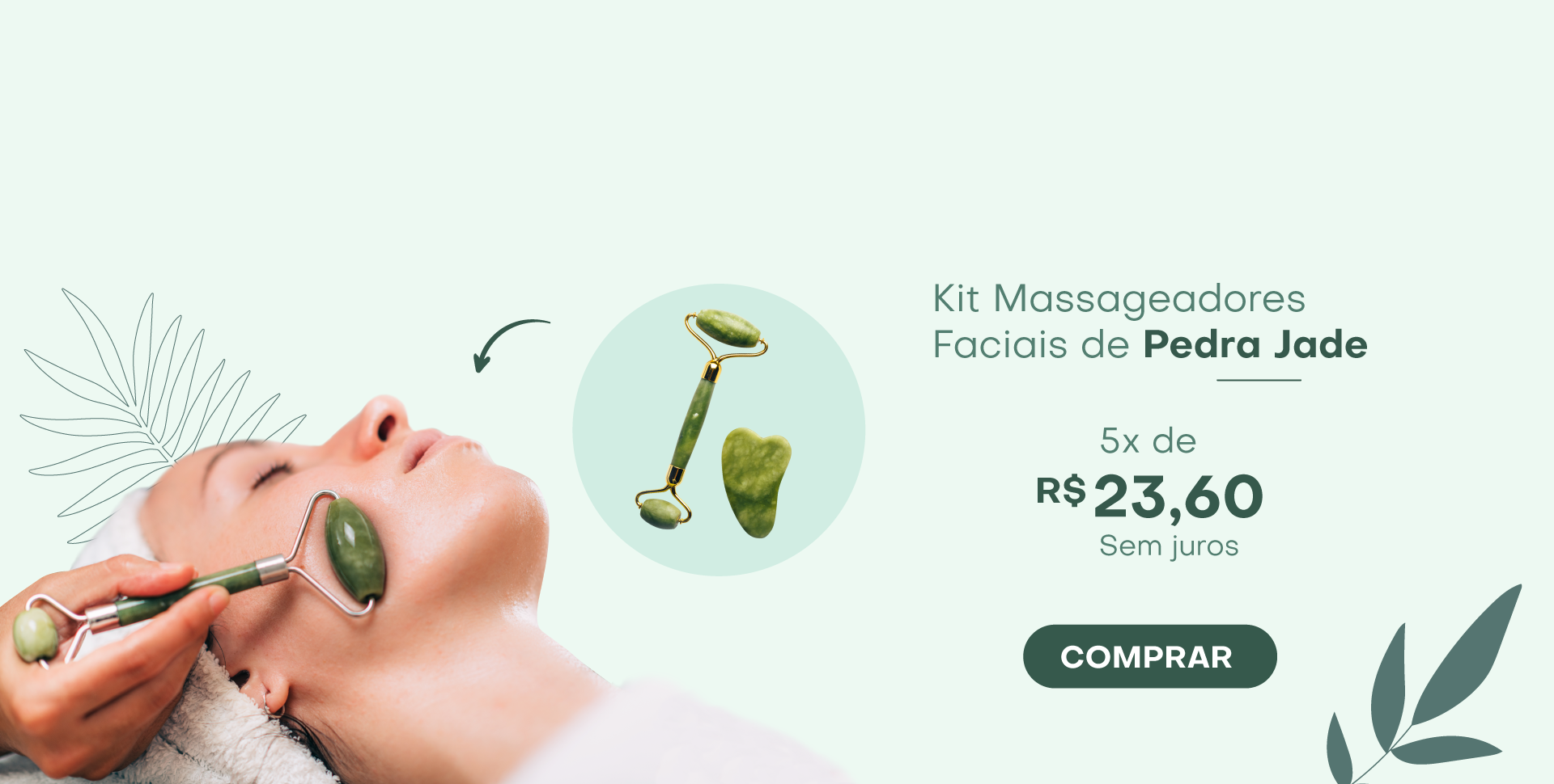 Kit Massageadores Faciais de Pedra Jade