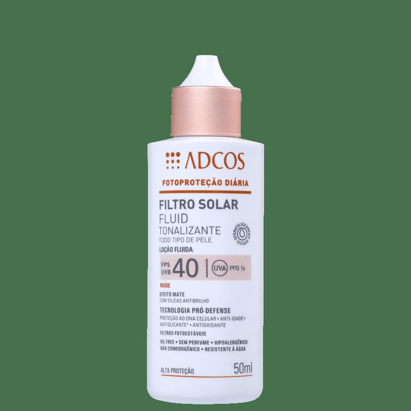 Filtro Solar FPS 40 Fluid Efeito Mate cor Nude 50ml  - Adcos