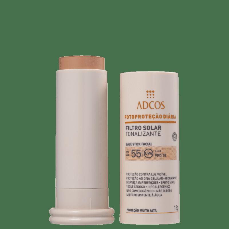 Filtro Solar FPS 55 Base Stick cor Beige 12g - Adcos