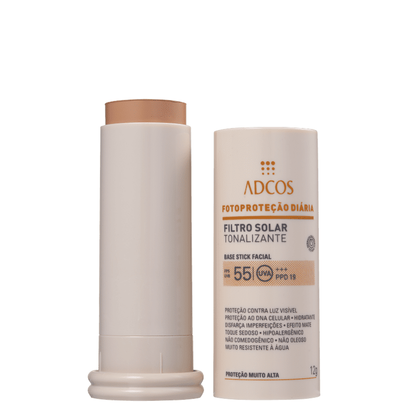 Filtro Solar FPS 55 Base Stick cor Nude 12g - Adcos