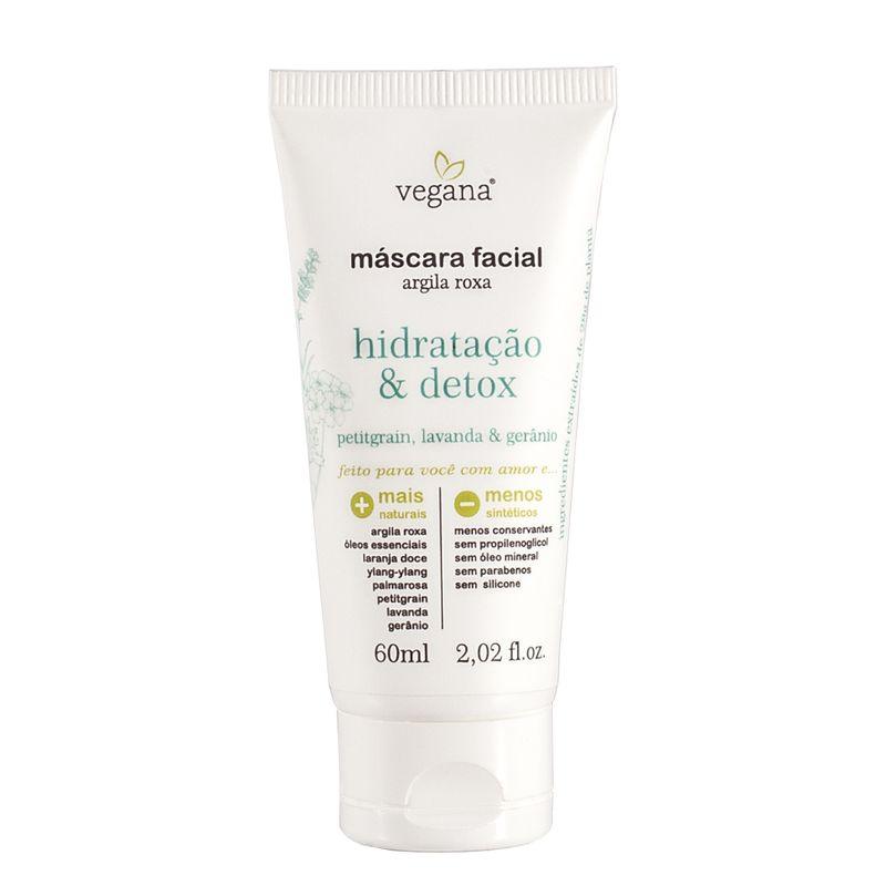 Mascara Facial de Argila Roxa Hidrtação e Detox 60 ml - Vegana