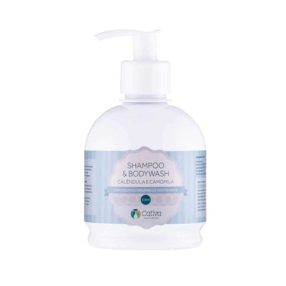Shampoo e Bodywash para Bebês de Calêndula e camomila 315 ml - Cativa