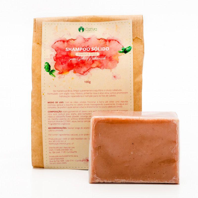 Shampoo Sólido de Pimenta Rosa 100g - Cativa