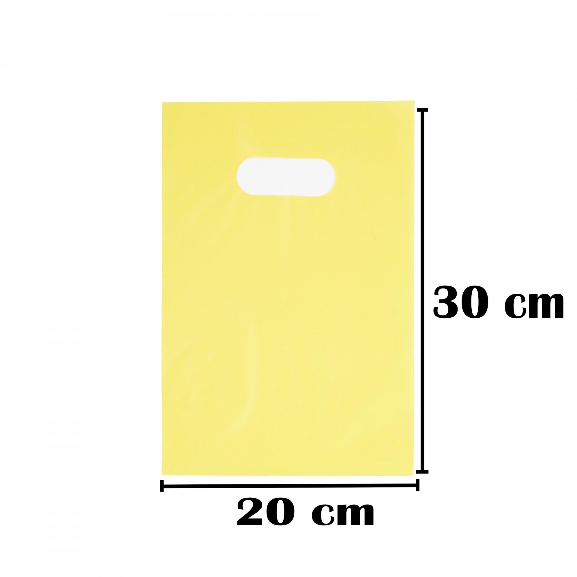 Sacola Plástica 20x30 Amarela Alça Boca de Palhaço 100 Unidades