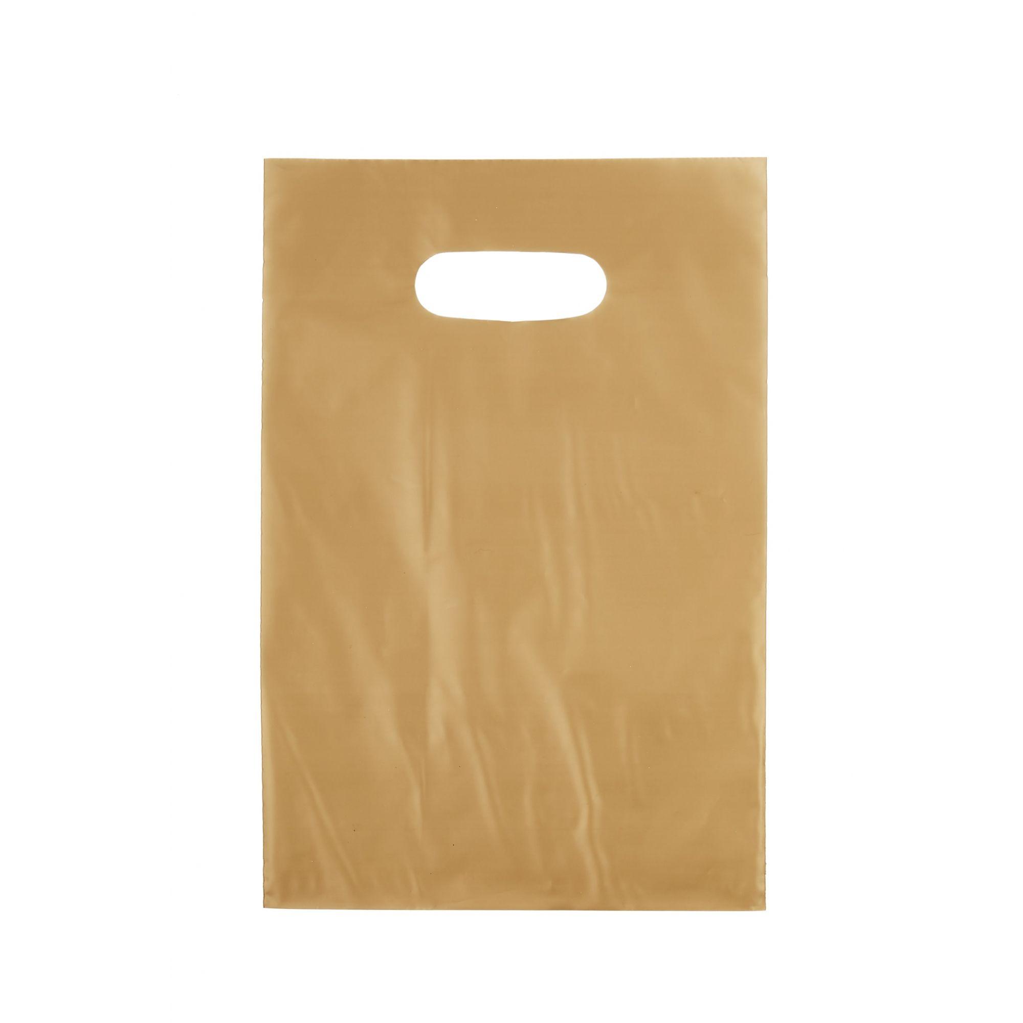 Sacola Plástica 20x30 Ouro - Alça Boca de Palhaço