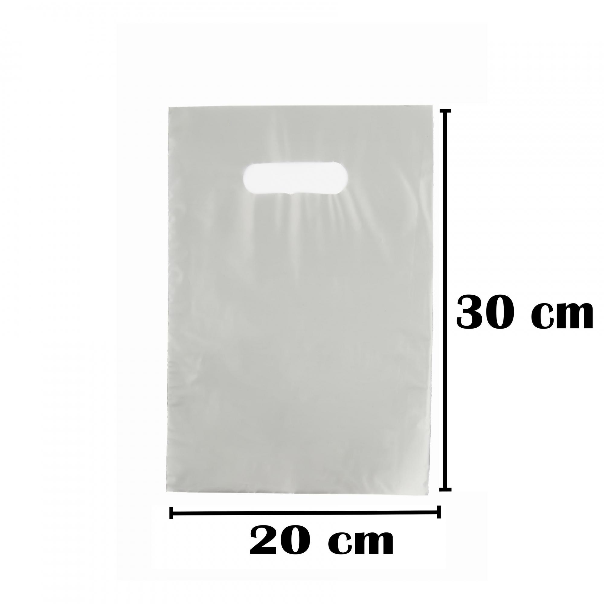 Sacola Plástica 20x30 Prata Alça Boca de Palhaço 100 Unidades