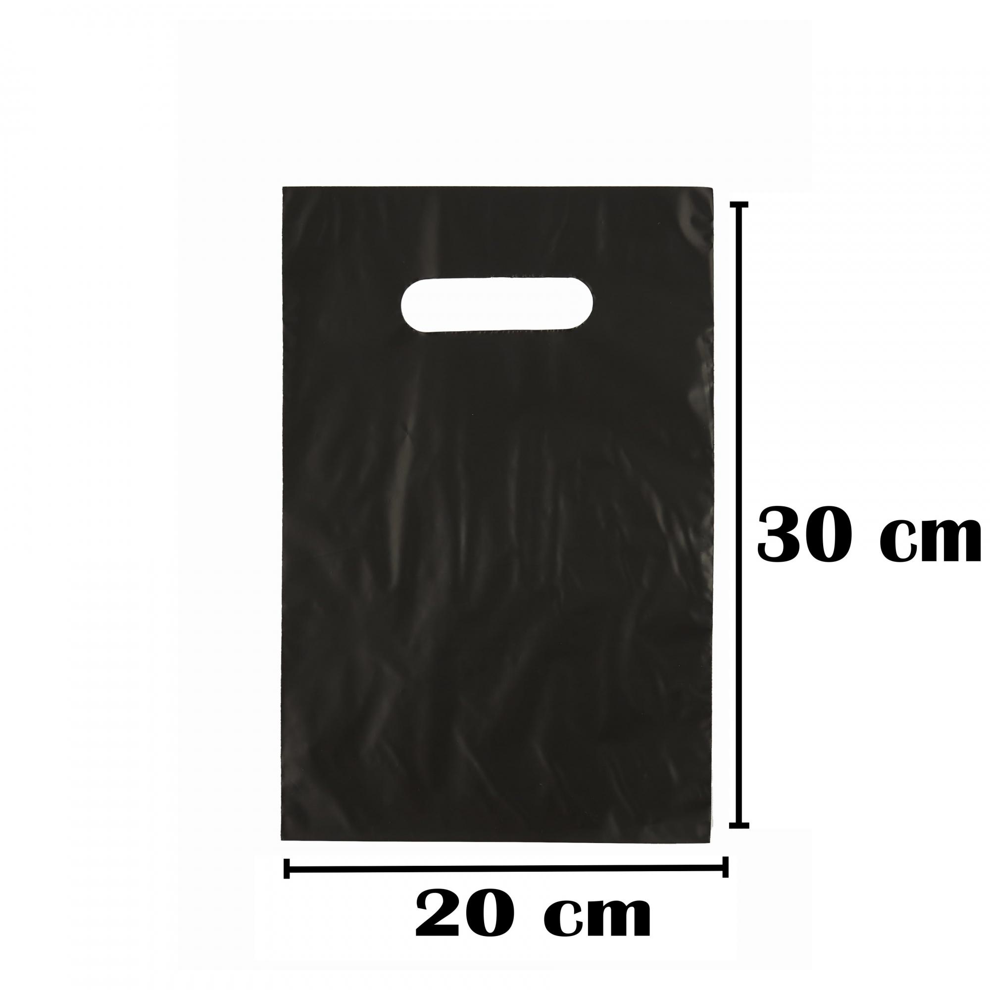 Sacola Plástica 20x30 Preta - Alça Boca de Palhaço - 50 Unidades