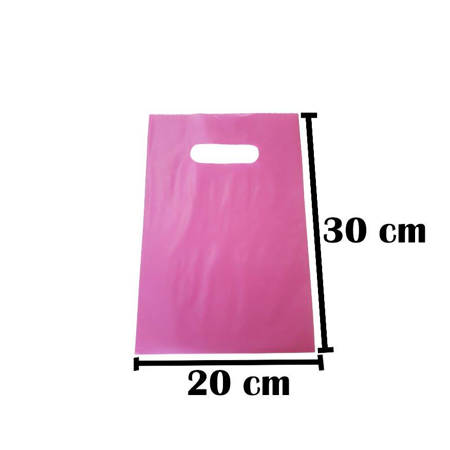 Sacola Plástica 20x30 Rosa Alça Boca de Palhaço 50 Unidades