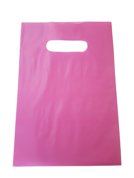 Sacola Plástica 20x30 Rosa - Alça Boca de Palhaço