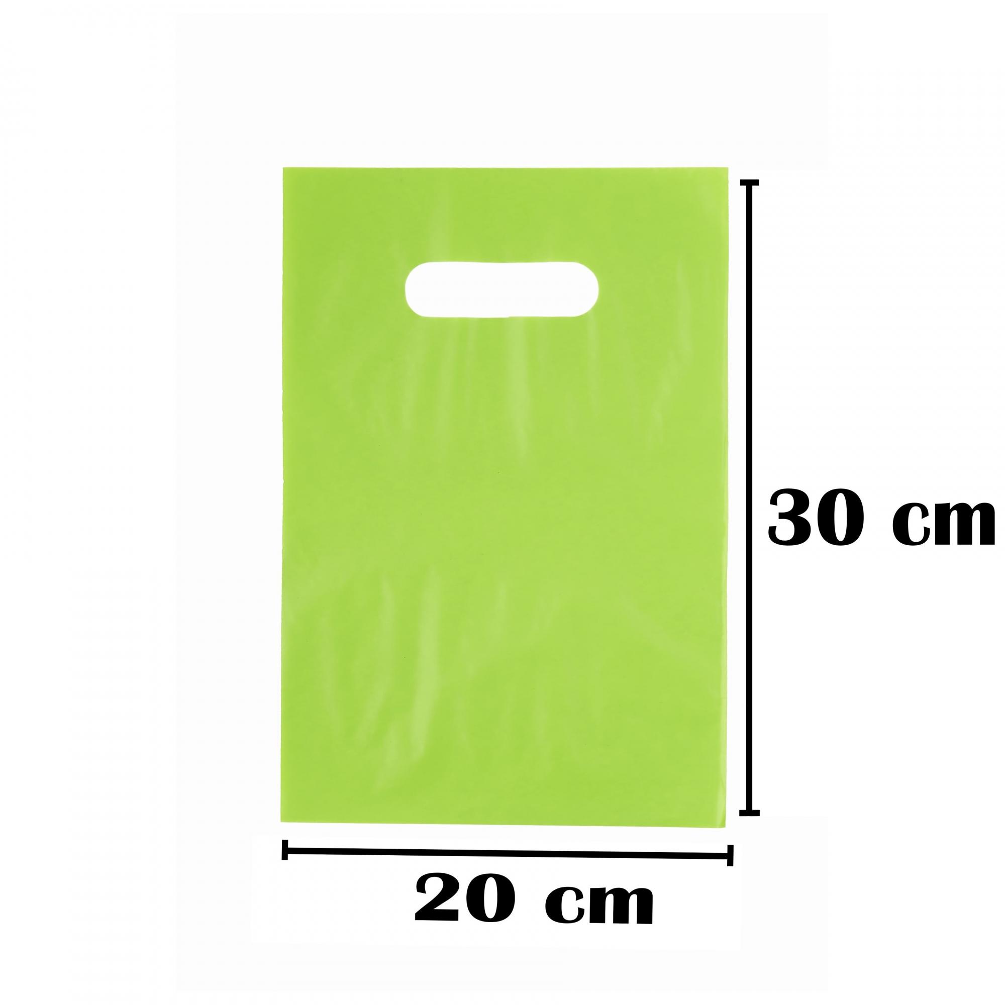 Sacola Plástica 20x30 Verde Alça Boca de Palhaço 50 Unidades