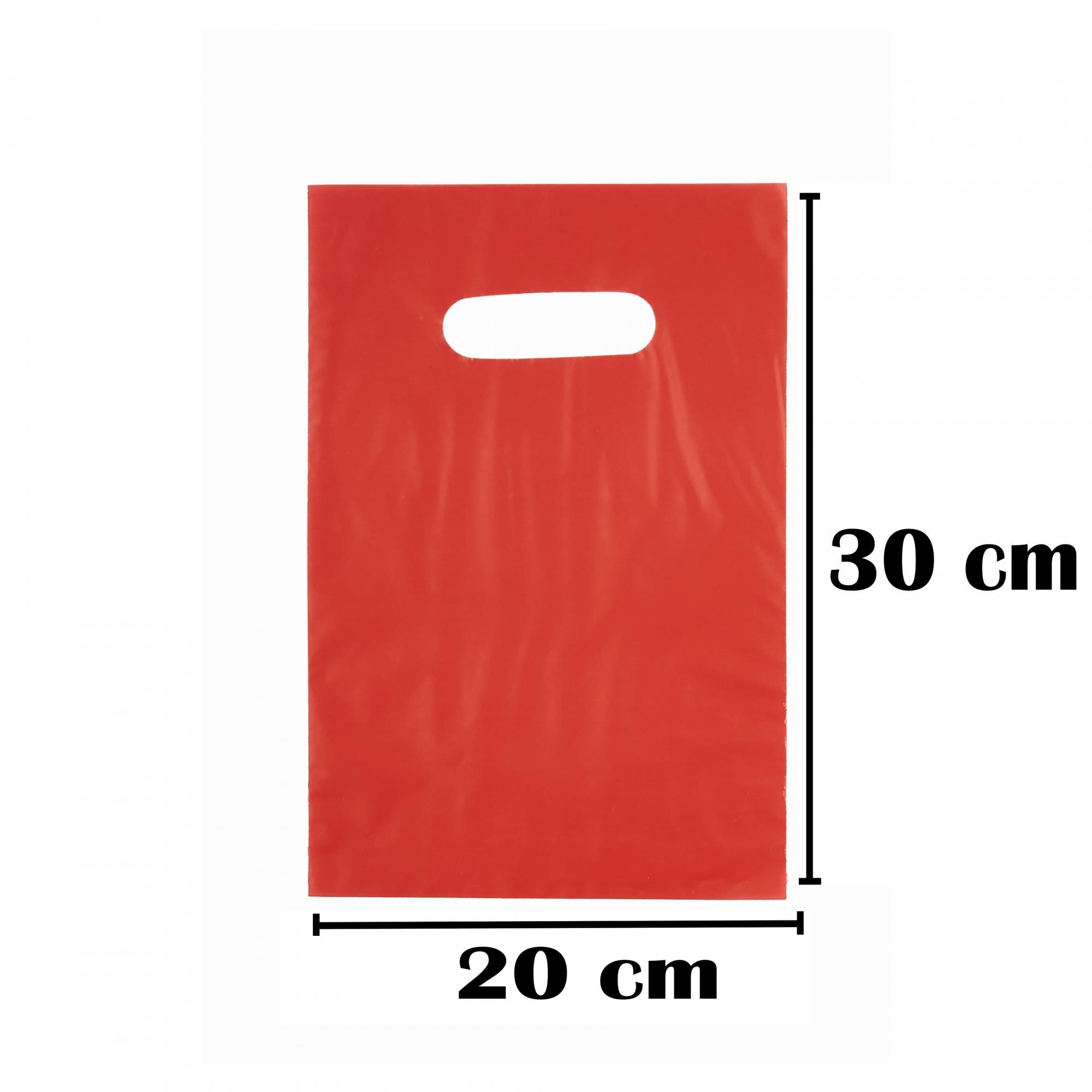 Sacola Plástica 20x30 Vermelha Alça Boca de Palhaço 50 Unidades