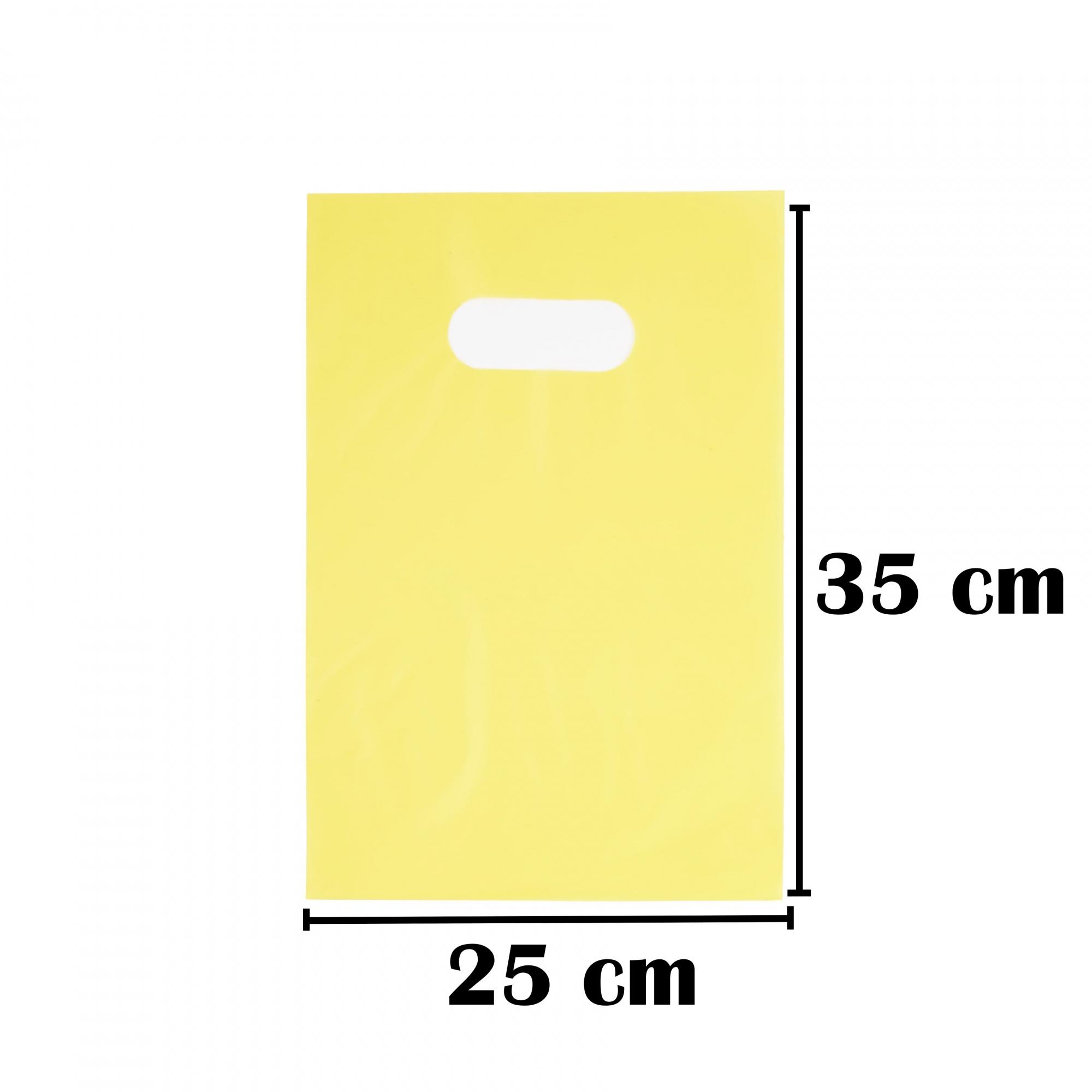 Sacola Plástica 25x35 Amarela Alça Boca de Palhaço 100 Unidades