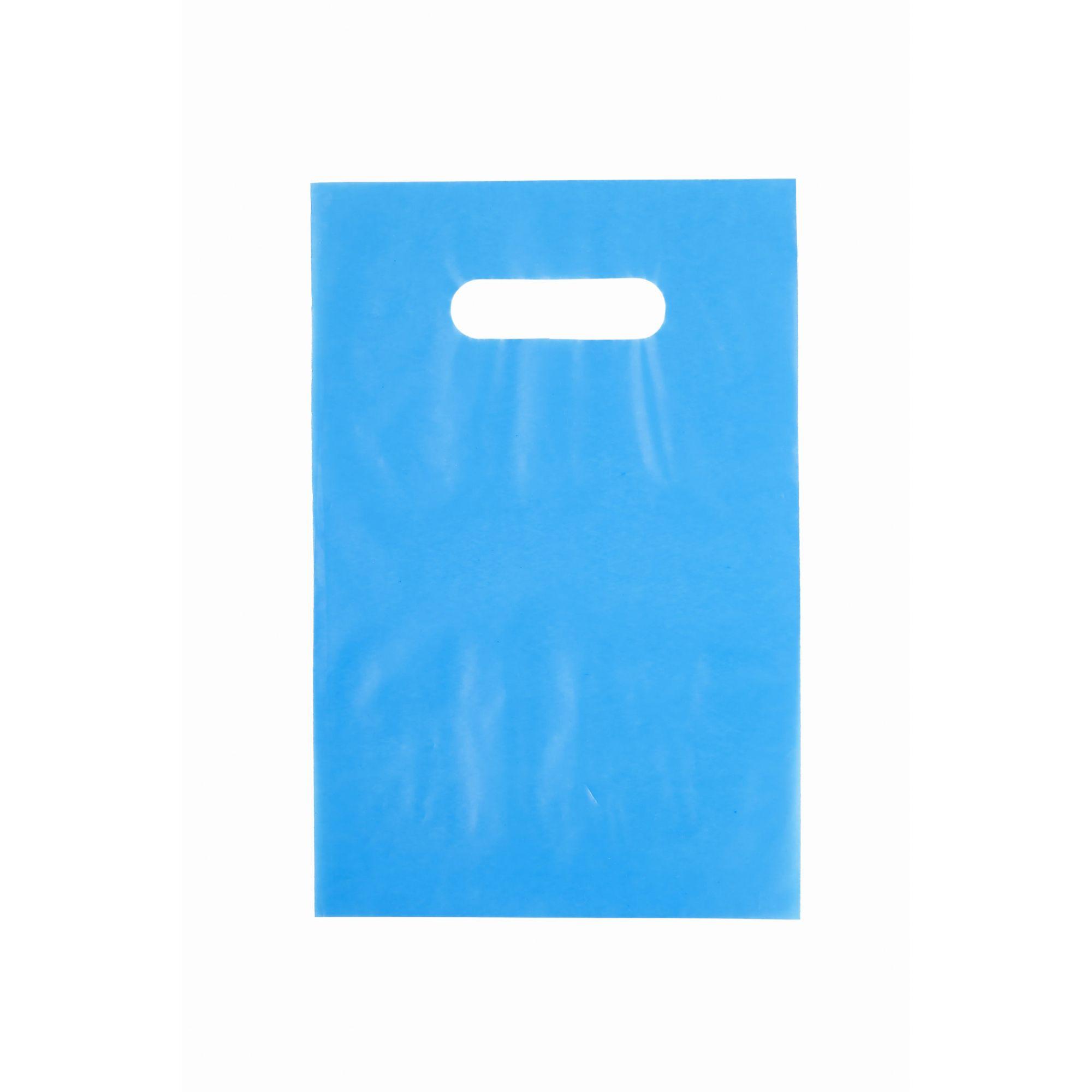 Sacola Plástica 25x35 Azul - Alça Boca de Palhaço