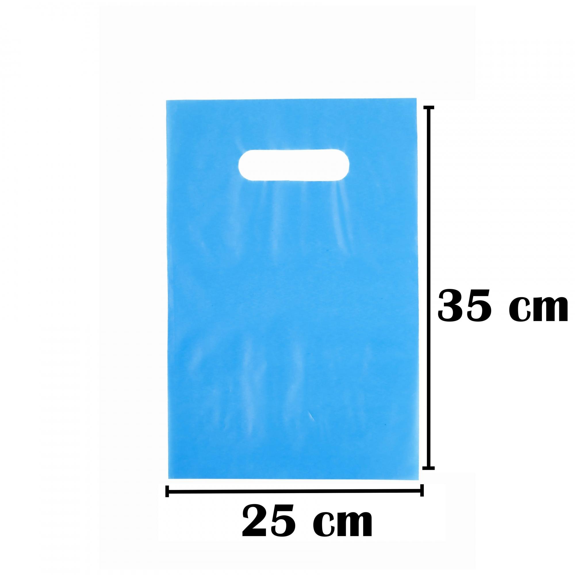 Sacola Plástica 25x35 Azul Alça Boca de Palhaço 50 Unidades