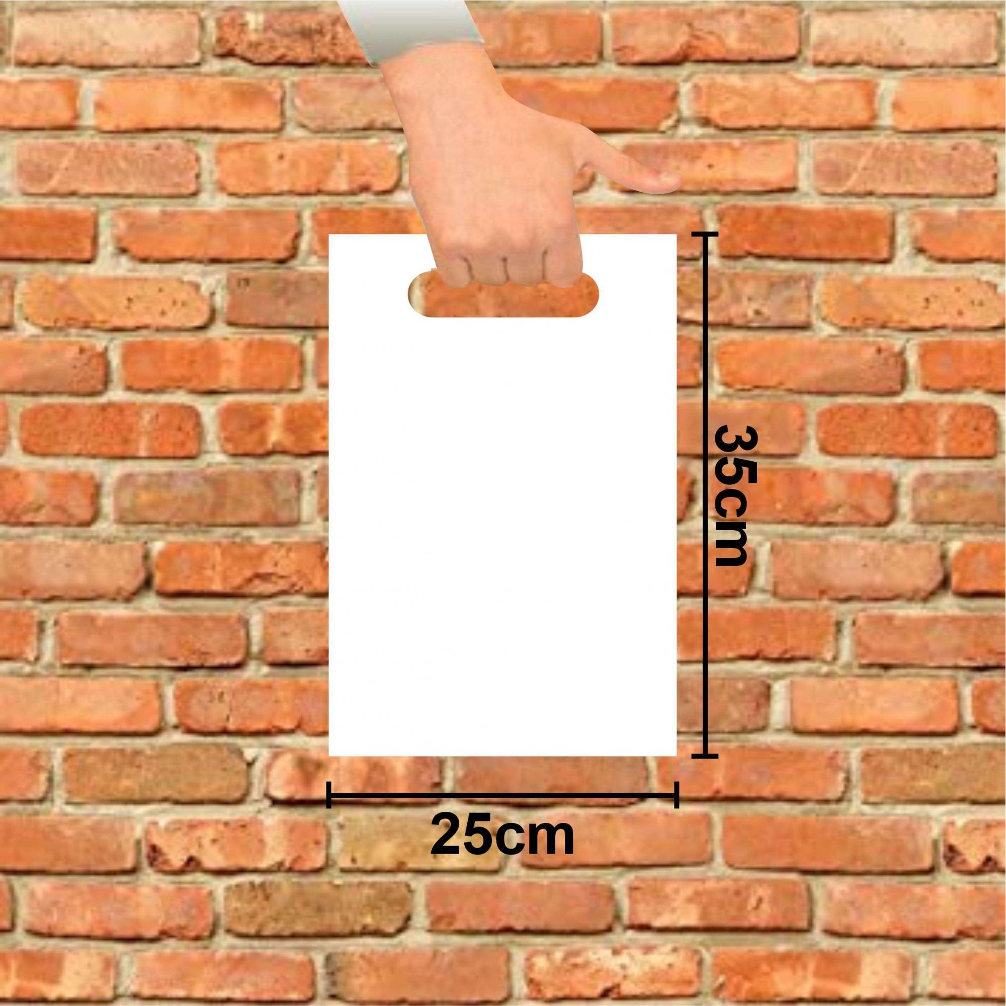 Sacola Plástica 25x35 Branca Alça Boca de Palhaço 50 Unidades