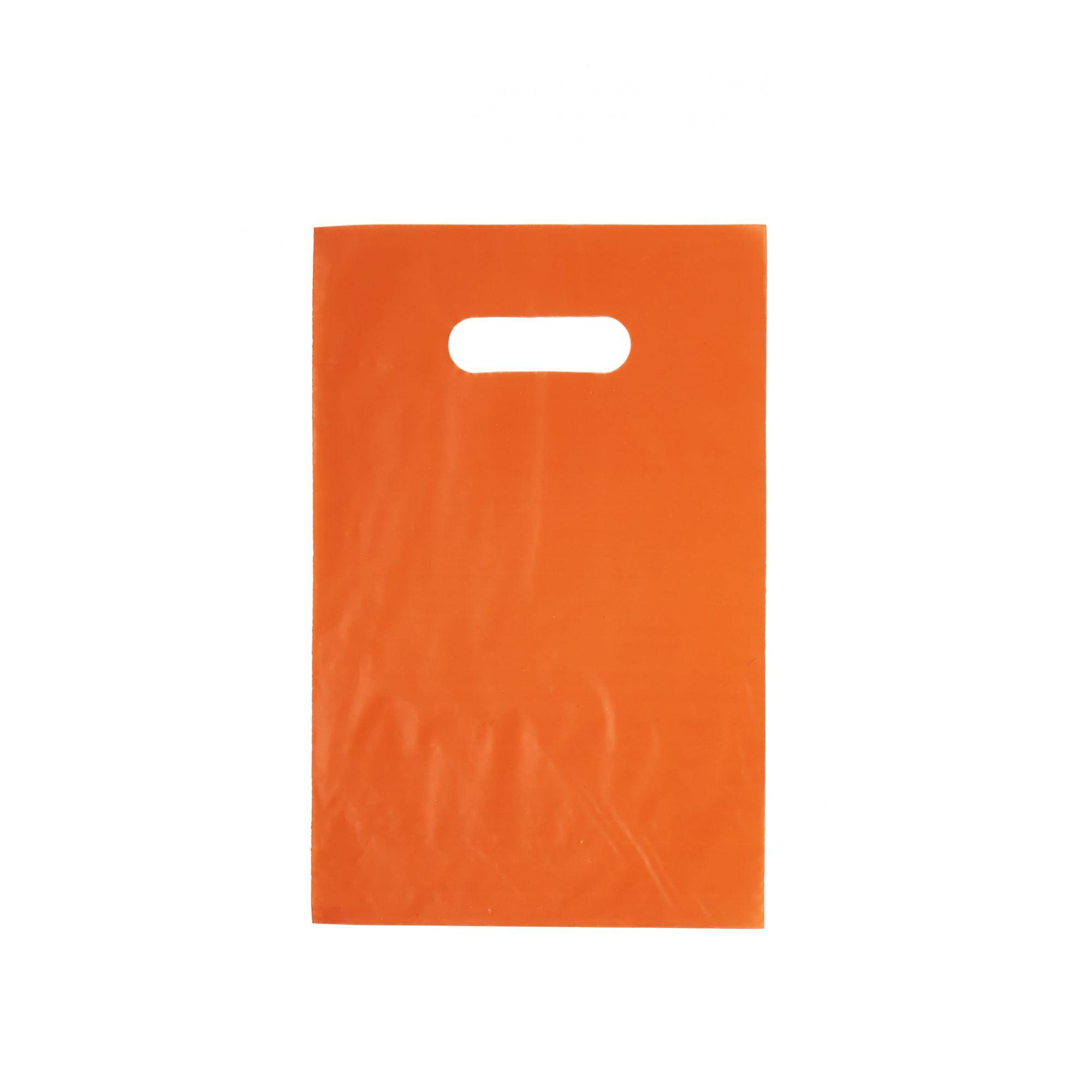 Sacola Plástica 25x35 Laranja - Alça Boca de Palhaço