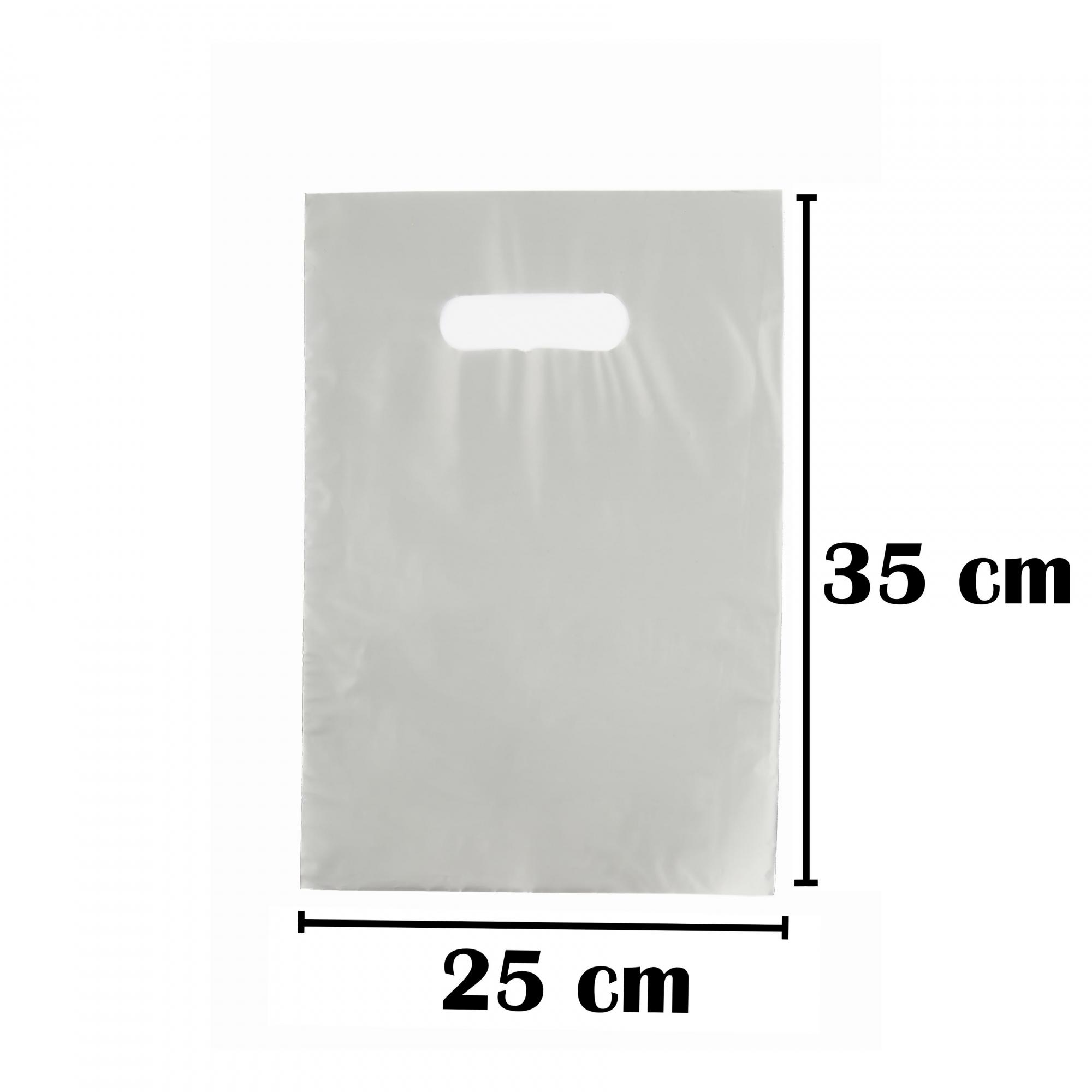 Sacola Plástica 25x35 Prata Alça Boca de Palhaço 50 Unidades