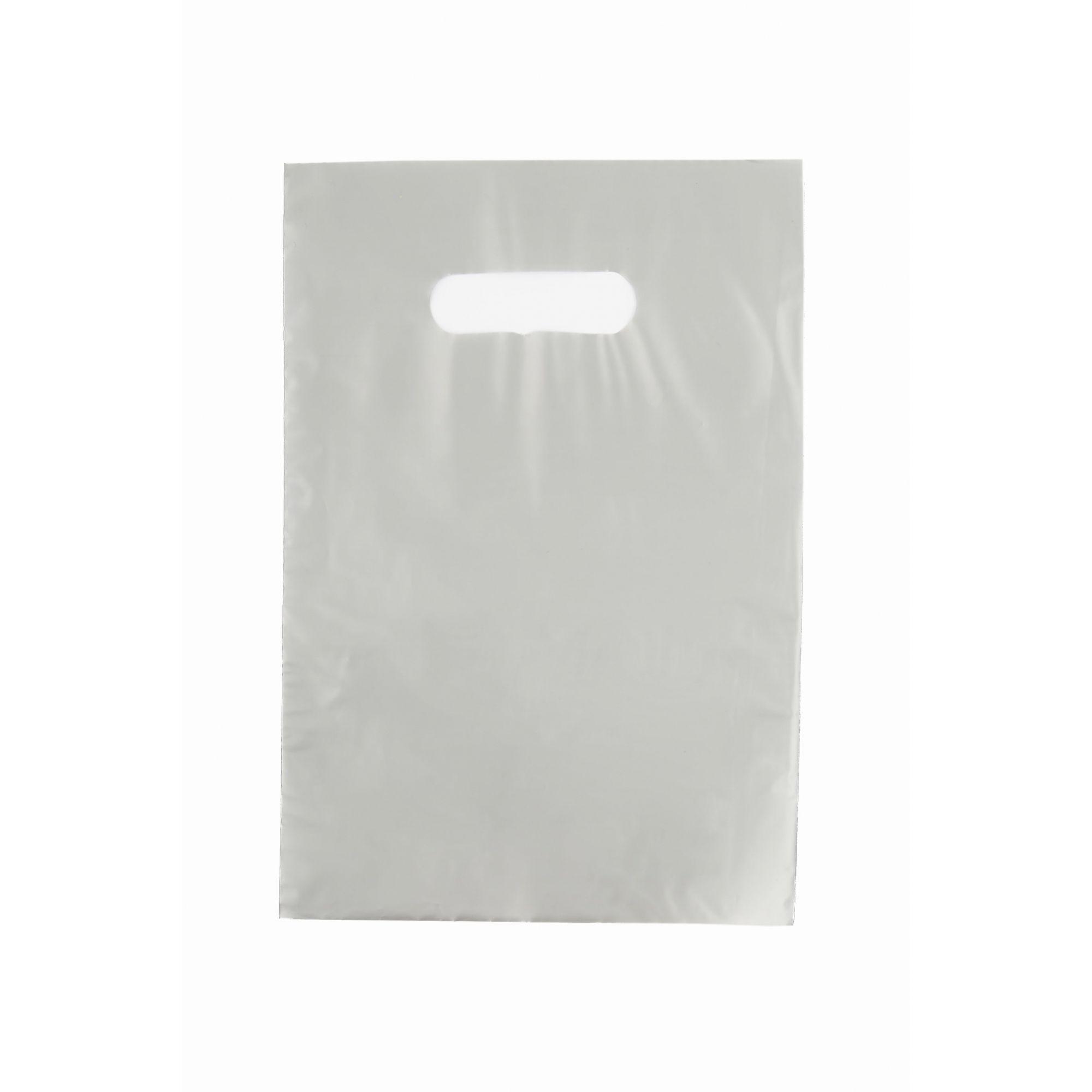 Sacola Plástica 25x35 Prata - Alça Boca de Palhaço
