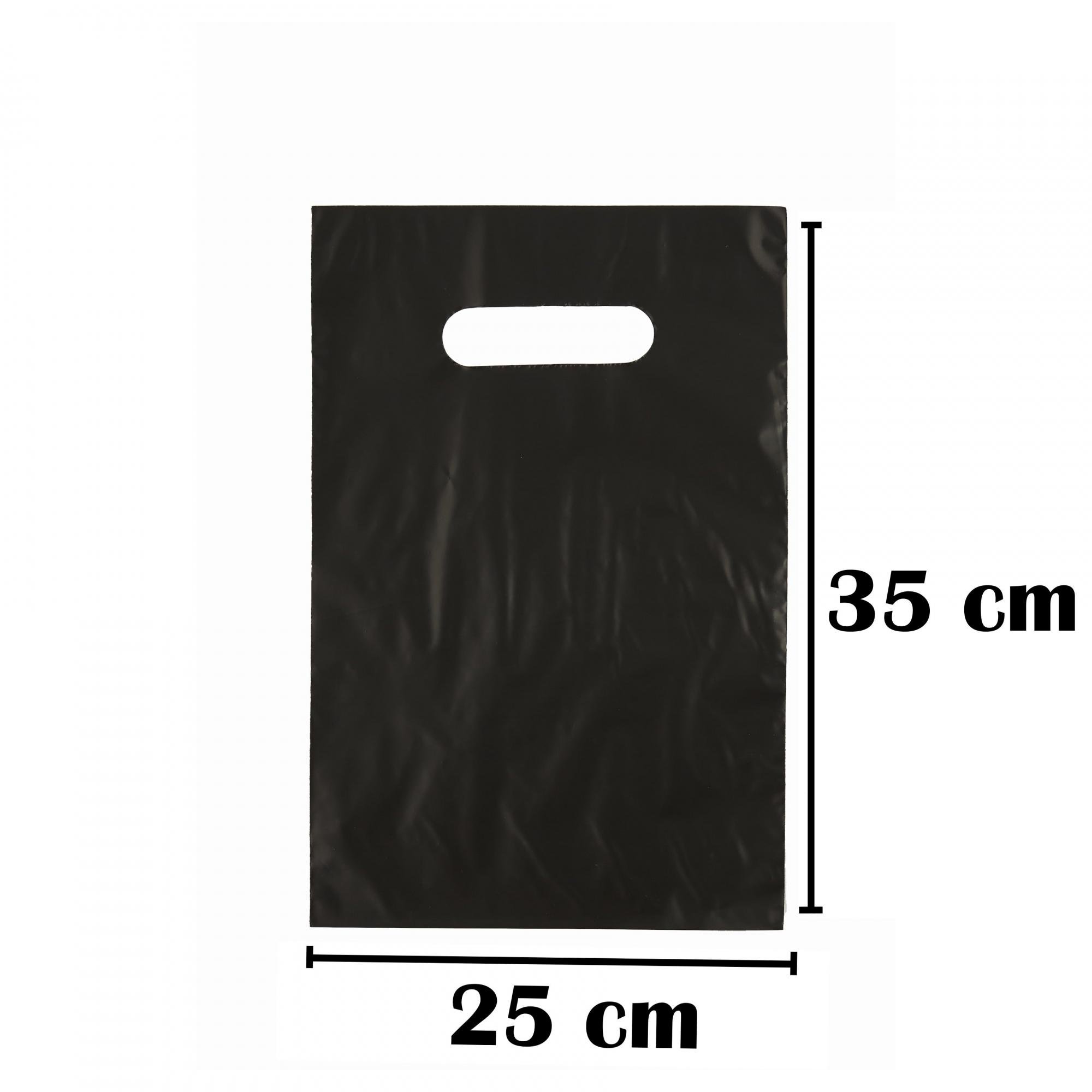 Sacola Plástica 25x35 Preta Alça Boca de Palhaço 50 Unidades