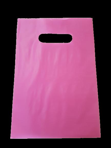 Sacola Plástica 25x35 Rosa - Alça Boca de Palhaço
