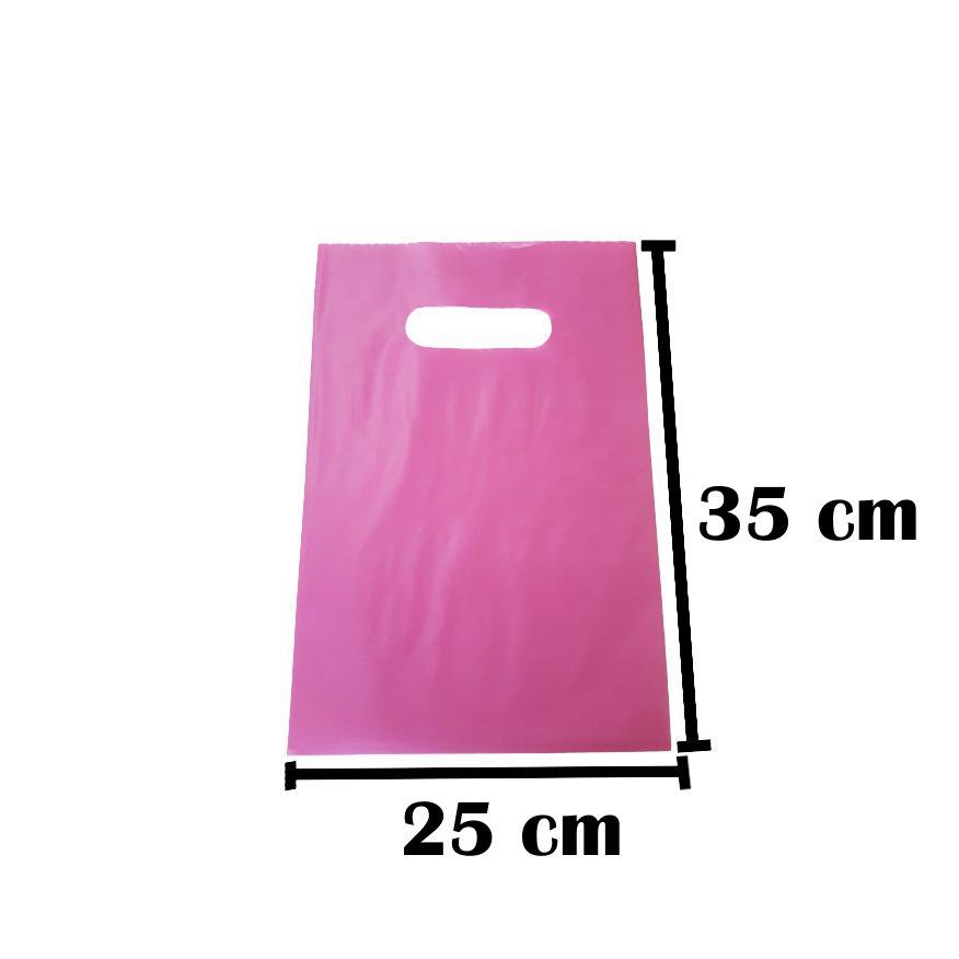 Sacola Plástica 25x35 Rosa Alça Boca de Palhaço 50 Unidades
