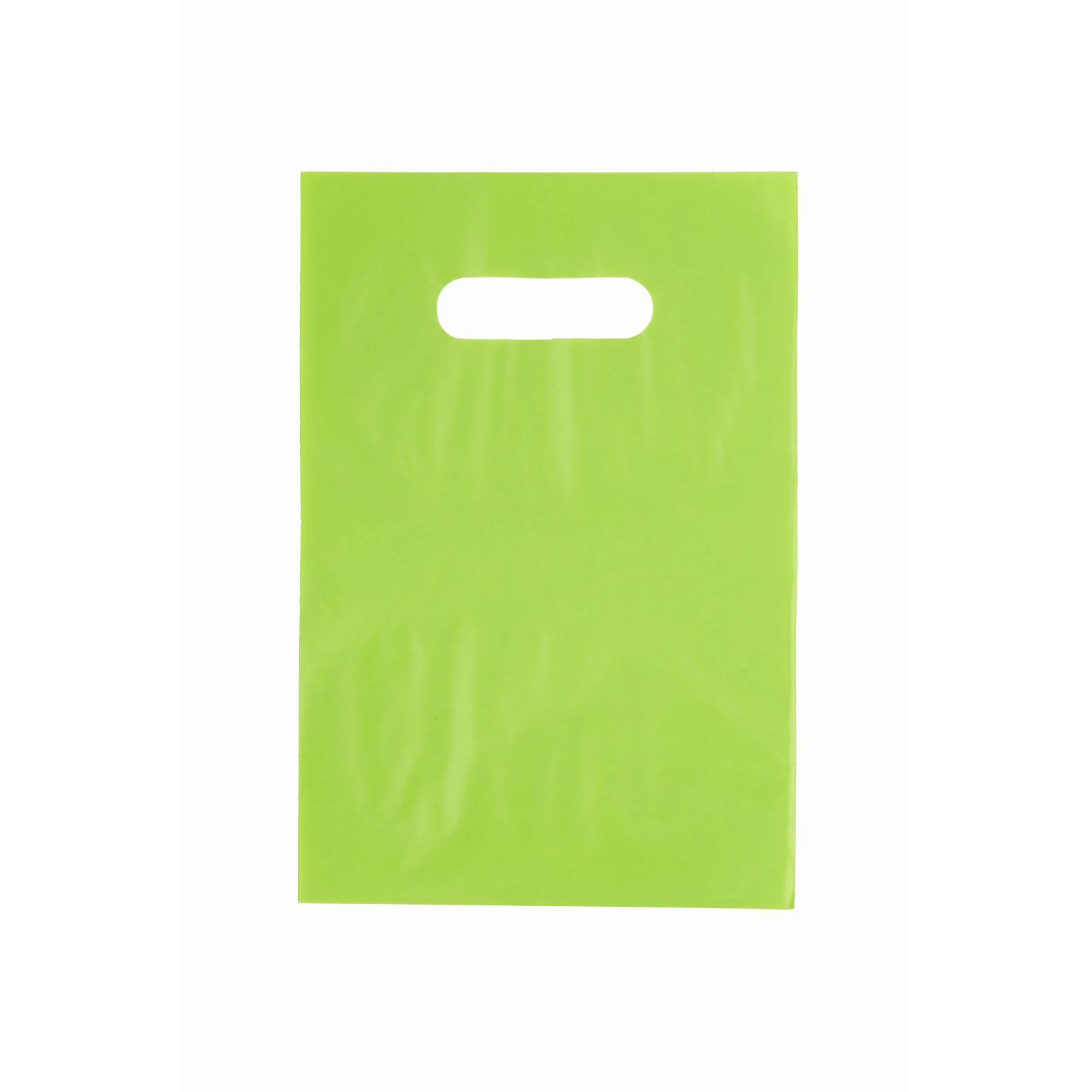 Sacola Plástica 25x35 Verde - Alça Boca de Palhaço