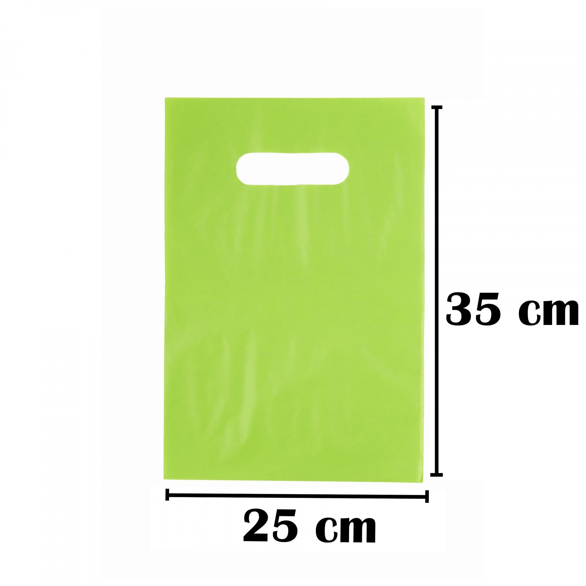Sacola Plástica 25x35 Verde Alça Boca de Palhaço 50 Unidades