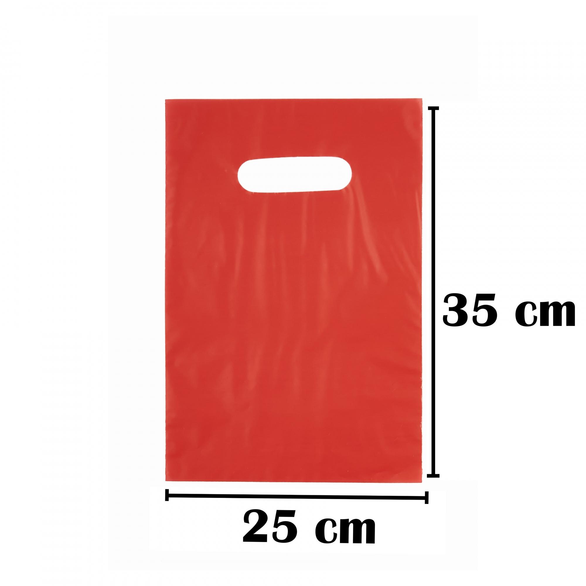 Sacola Plástica 25x35 Vermelha Alça Boca de Palhaço 100 Unidades