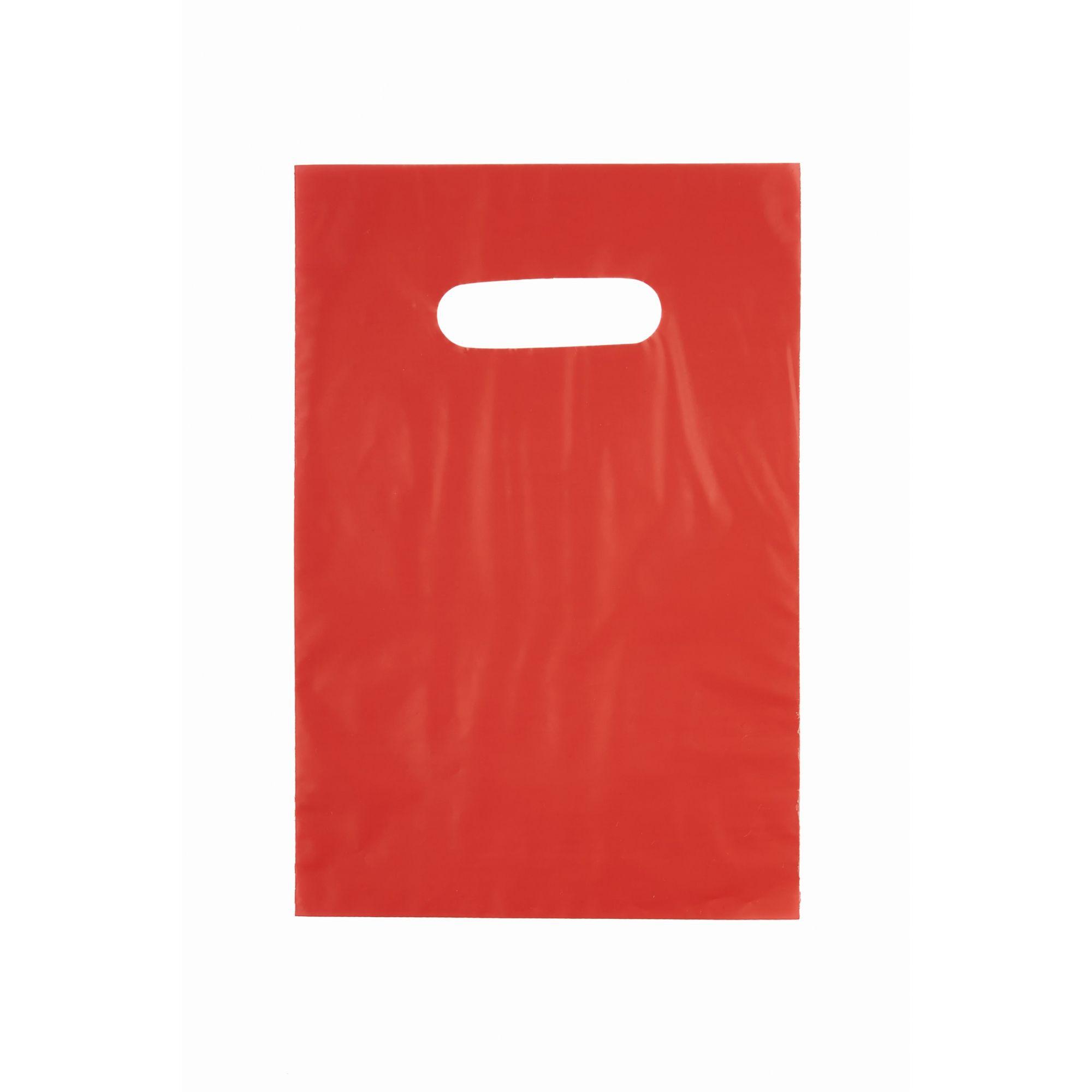 Sacola Plástica 25x35 Vermelha - Alça Boca de Palhaço