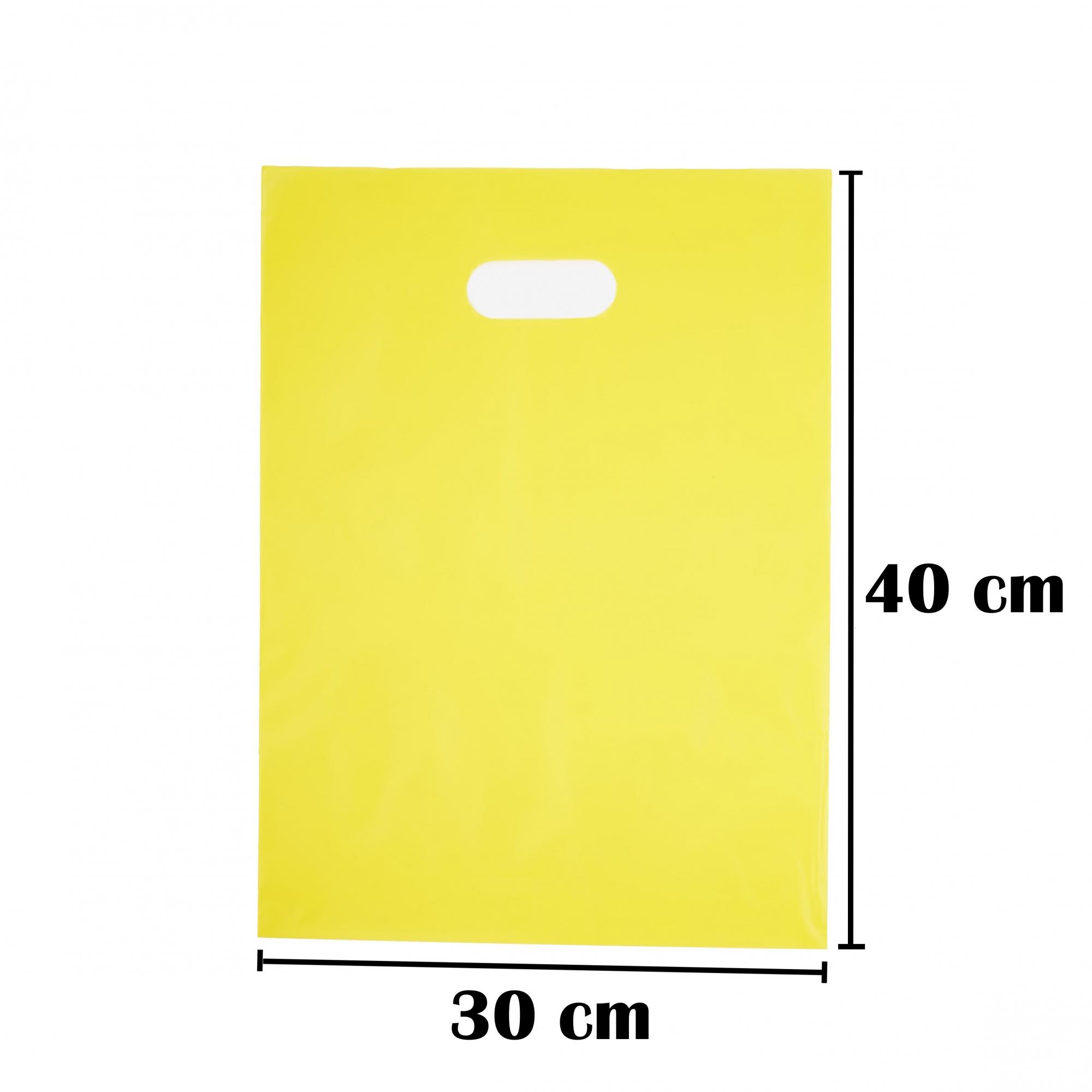 Sacola Plástica 30x40 Amarela Alça Boca de Palhaço 100 Unidades