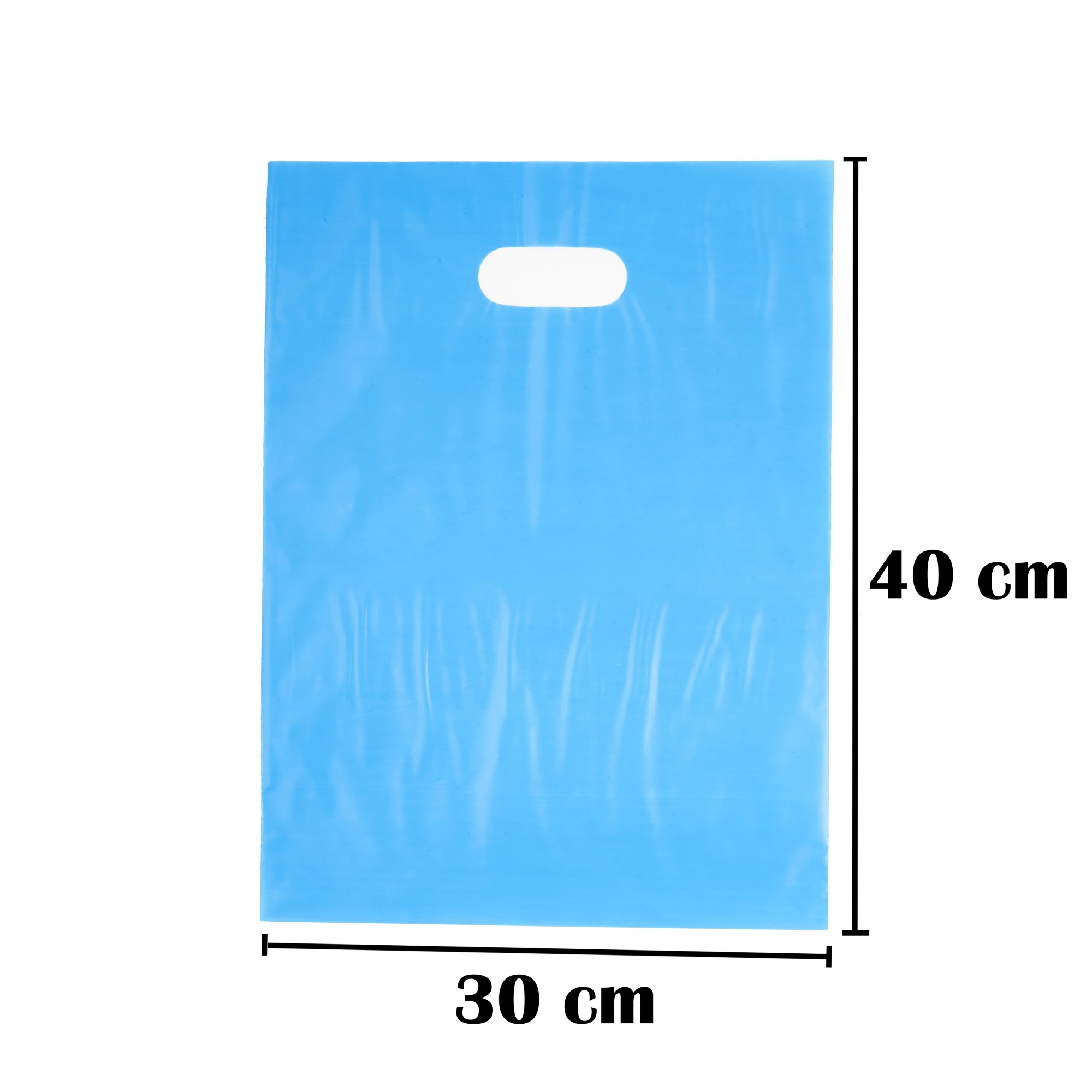 Sacola Plástica 30x40 Azul Alça Boca de Palhaço 1.000 Unidades