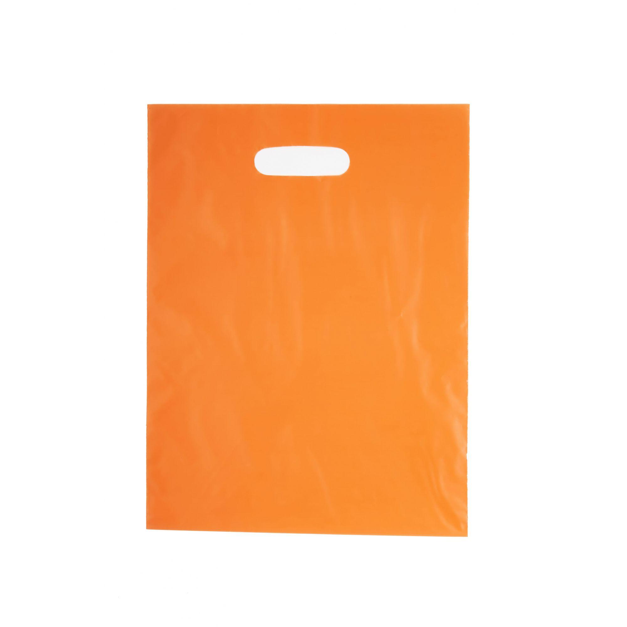 Sacola Plástica 30x40 Laranja - Alça Boca de Palhaço