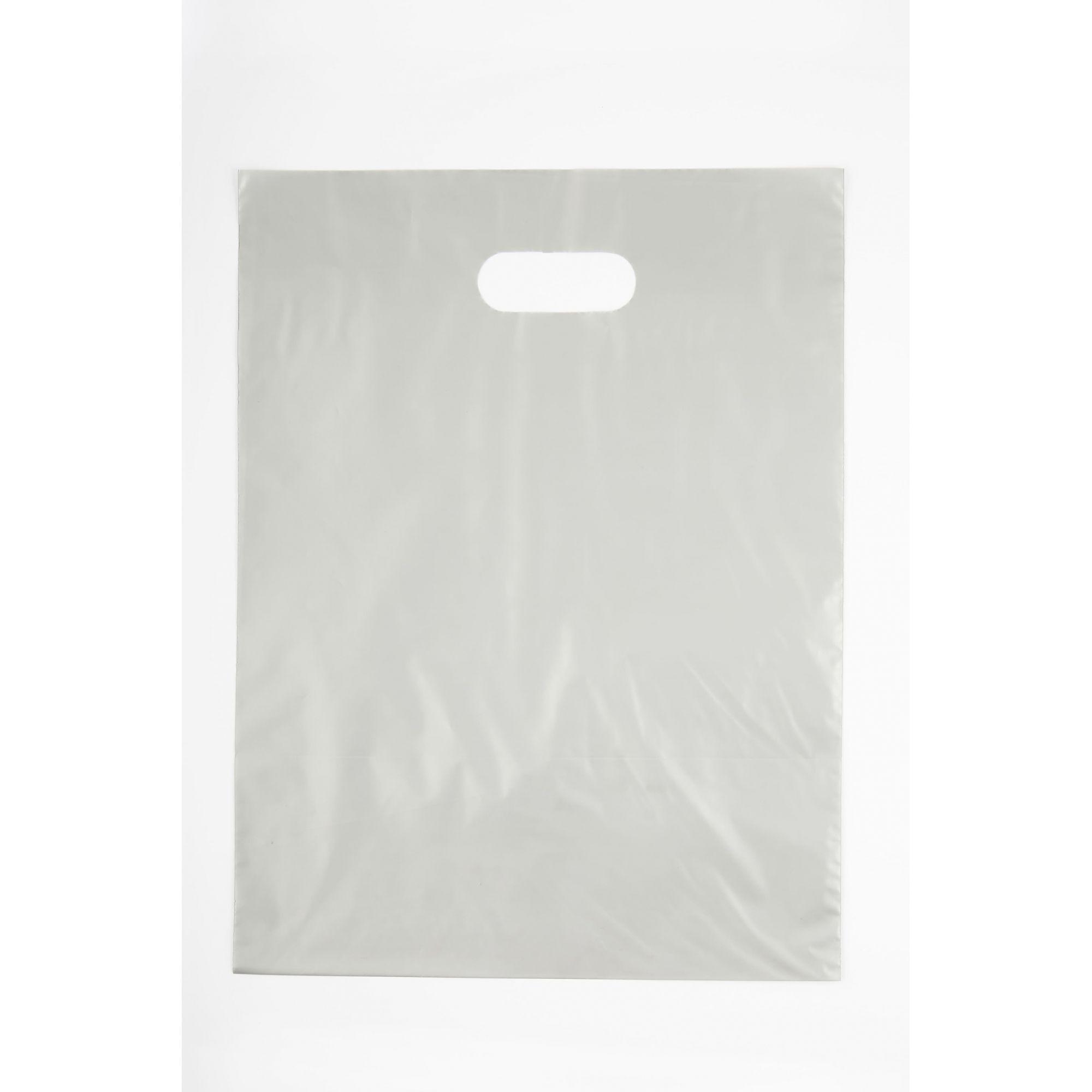 Sacola Plástica 30x40 Prata - Alça Boca de Palhaço