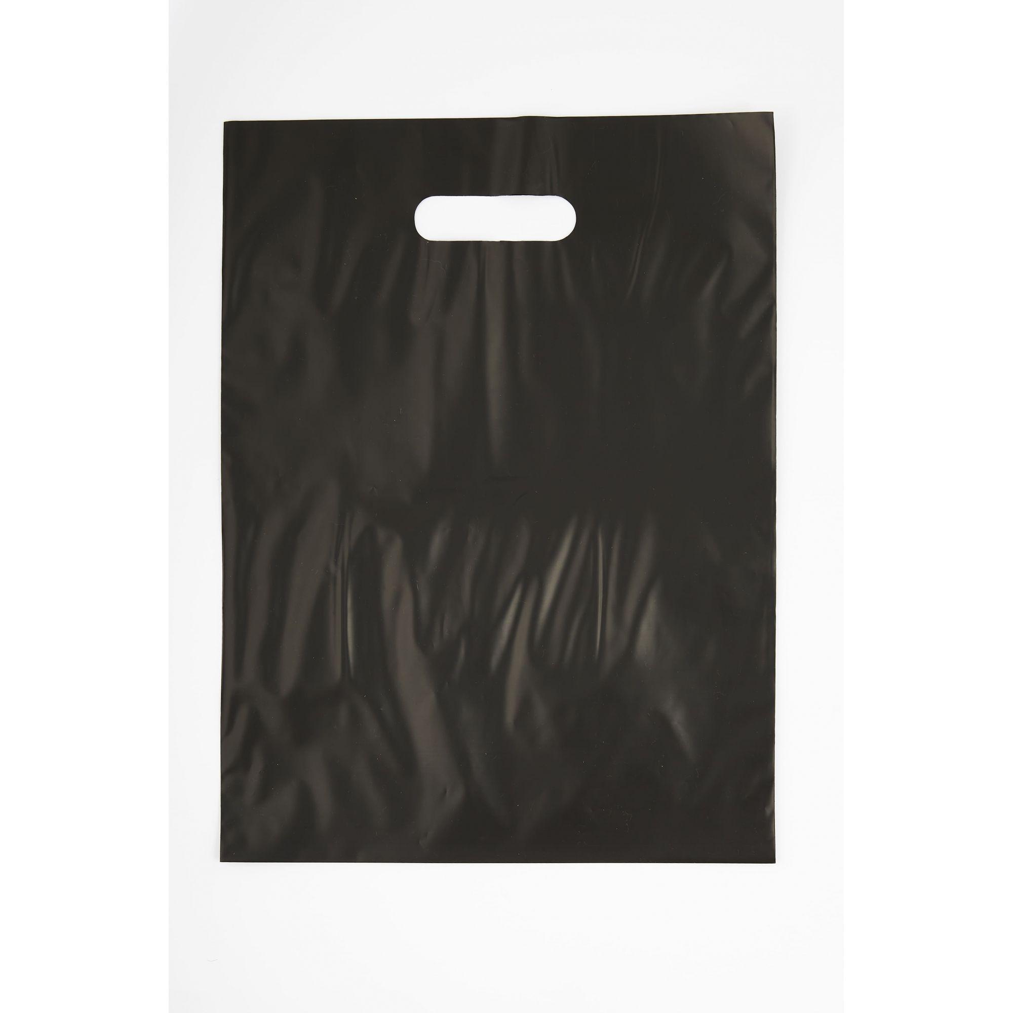 Sacola Plástica 30x40 Preta - Alça Boca de Palhaço