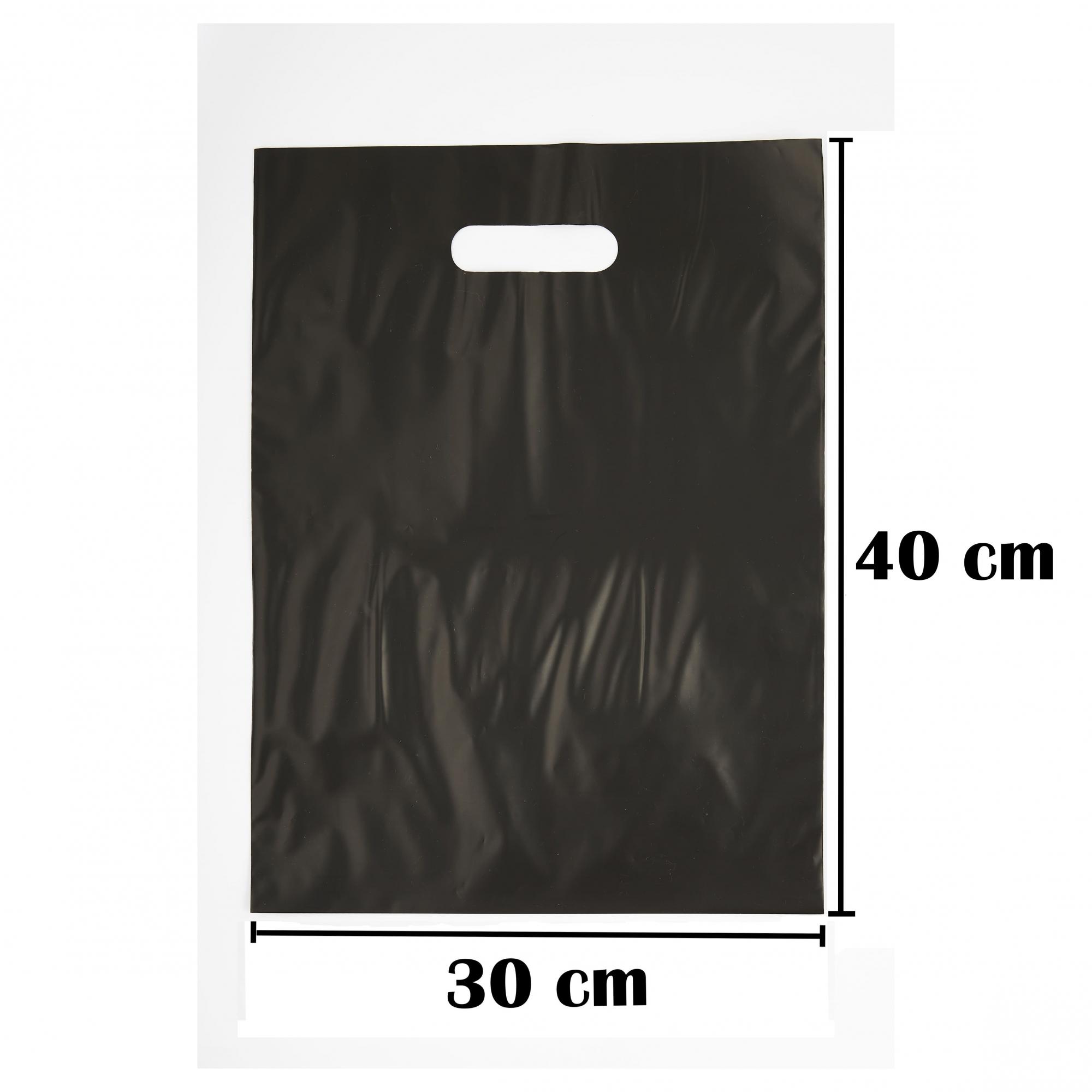Sacola Plástica 30x40 Preta - Alça Boca de Palhaço - 50 Unidades