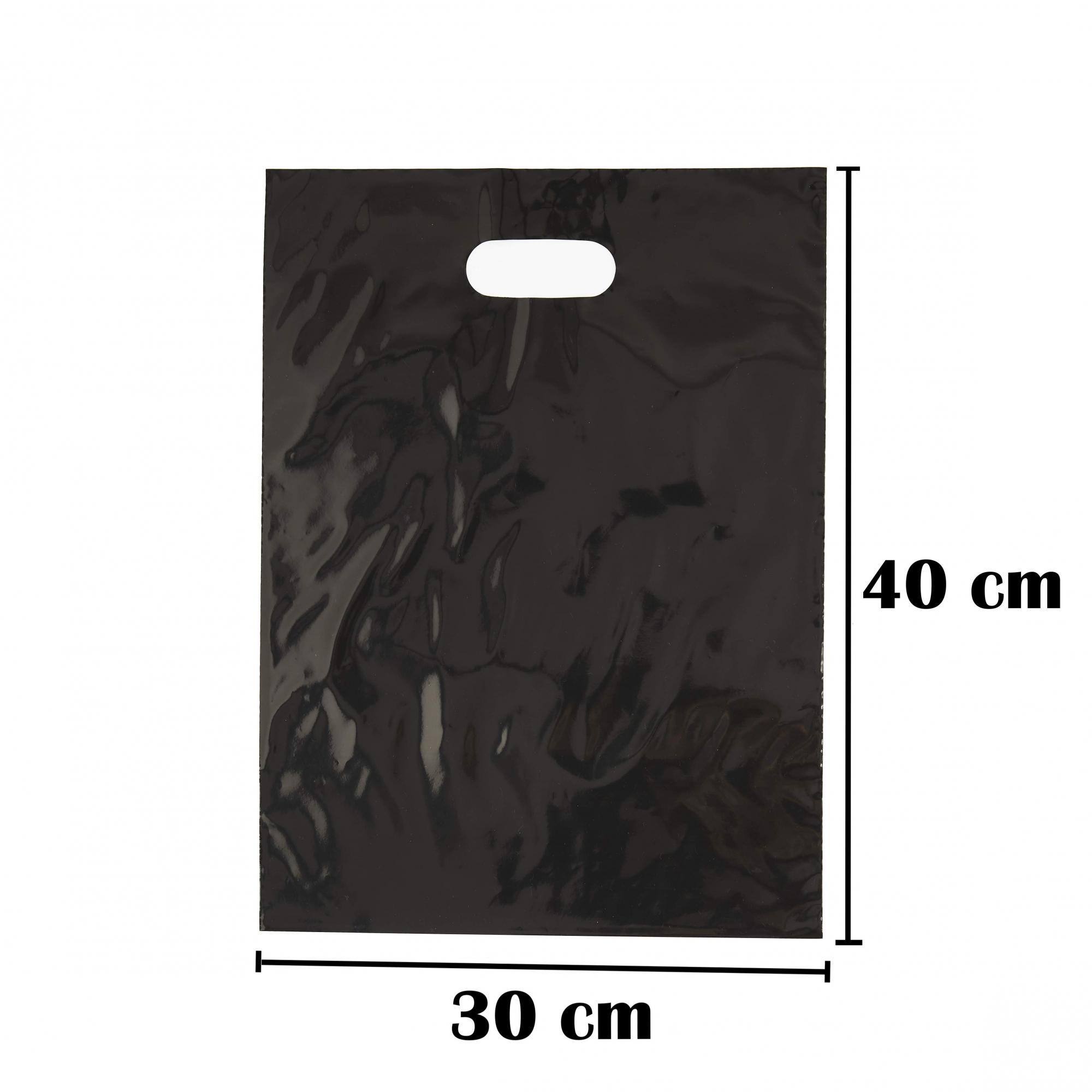 Sacola Plástica 30x40 Preta Com Brilho Alça Boca de Palhaço 250 Unidades