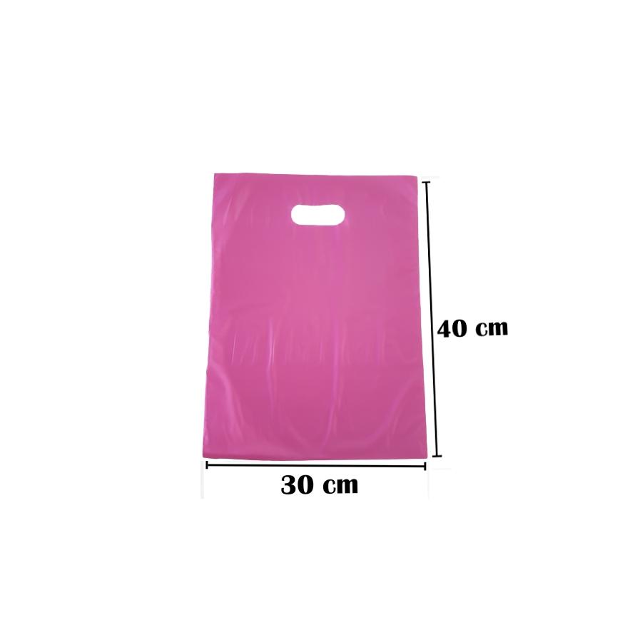 Sacola Plástica 30x40 Rosa Alça Boca de Palhaço 100 Unidades