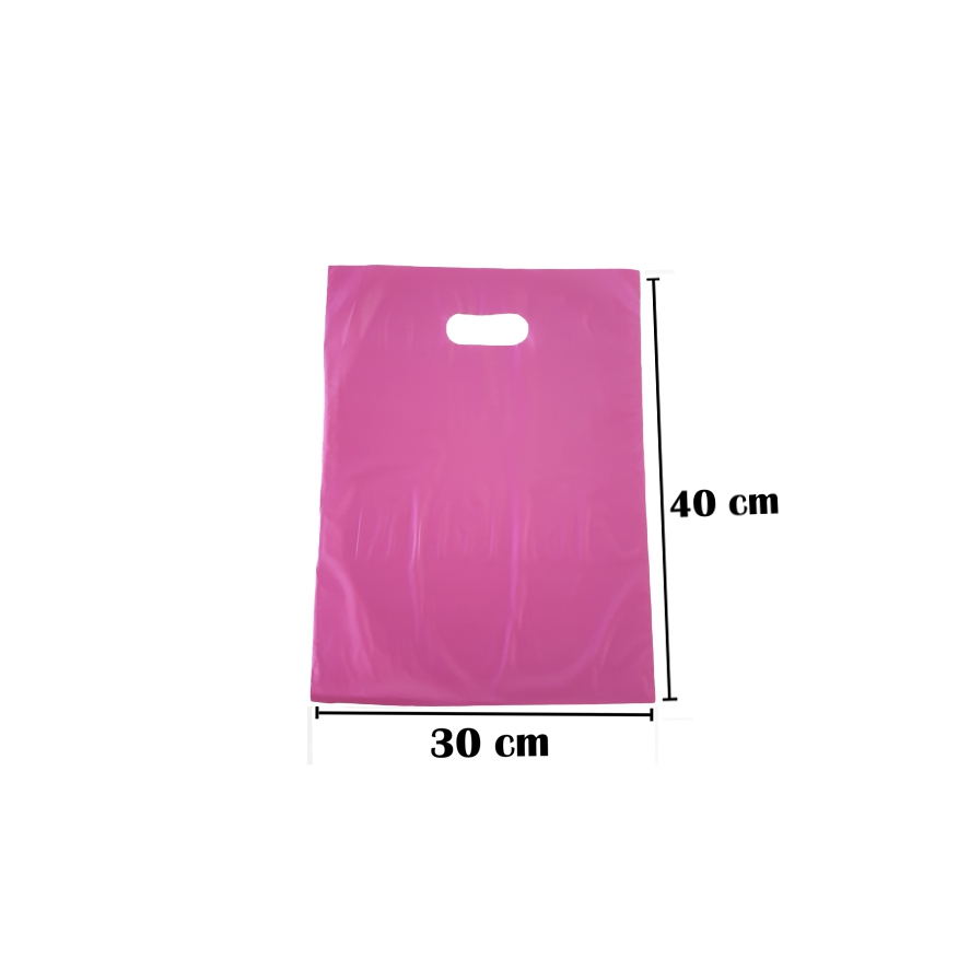 Sacola Plástica 30x40 Rosa Alça Boca de Palhaço 500 Unidades