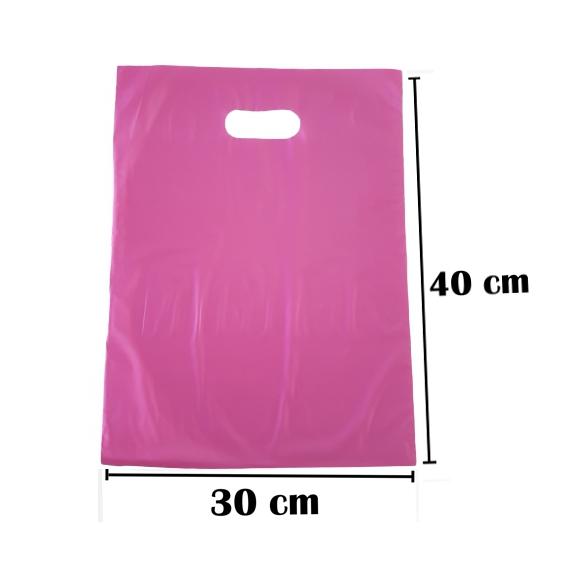 Sacola Plástica 30x40 Rosa Alça Boca de Palhaço 50 Unidades