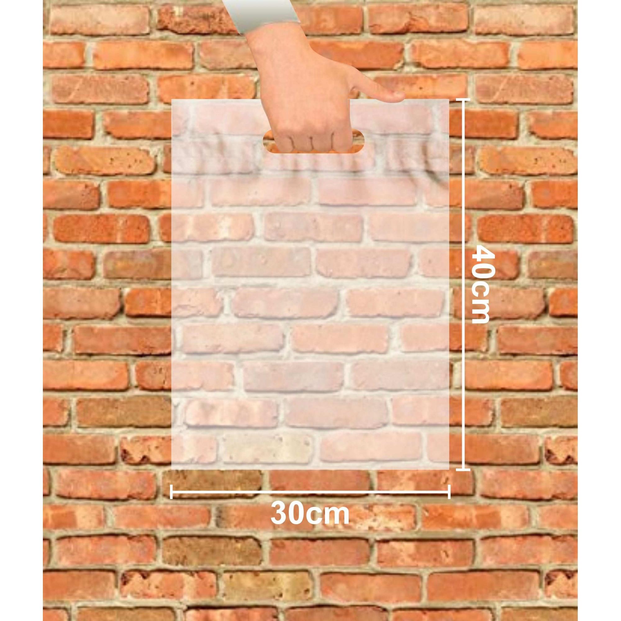 Sacola Plástica 30x40 Transparente Alça Boca de Palhaço 100 Unidades