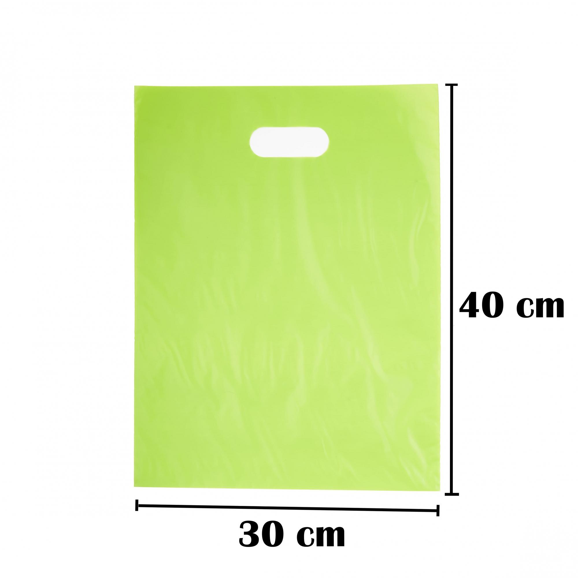 Sacola Plástica 30x40 Verde Alça Boca de Palhaço 50 Unidades